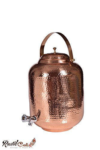 Rustik Craft 12 Liter Pure Copper Matki Style Water Pot Tank with Faucet/ 2450 Grams/ Height-14 Inch/Dia- 7…