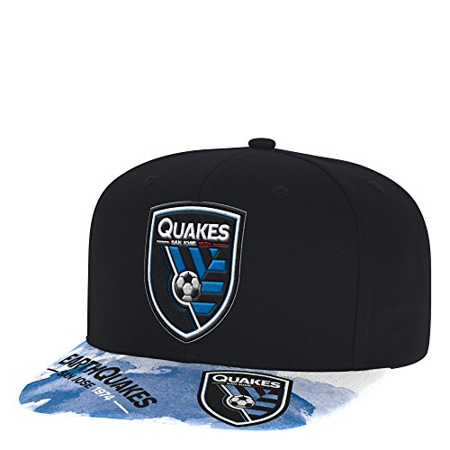 adidas MLS San Jose Earthquakes Adult Men Sublimated Flat Brim Snapback Hat, One Size, Black