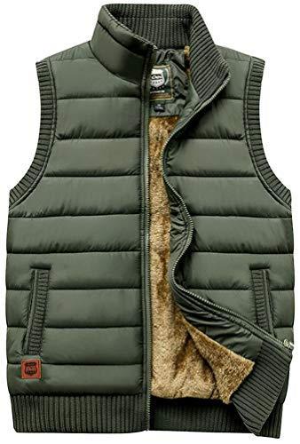 Vcansion Men's Outdoor Casual Stand Collar Thicken Qulited Fleece Jacket Vest Padded Vest Lightweight Down Cotton Vest Coat Army Green US - Nylon Vest Quilted