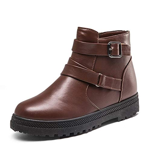 Courtes Mesdames Zipper toe Mode Brown Neige Round Slip Plat on Bovake Fminine Cheville Bottes Clearance Chaud Martin Hiver dCwqZIRq
