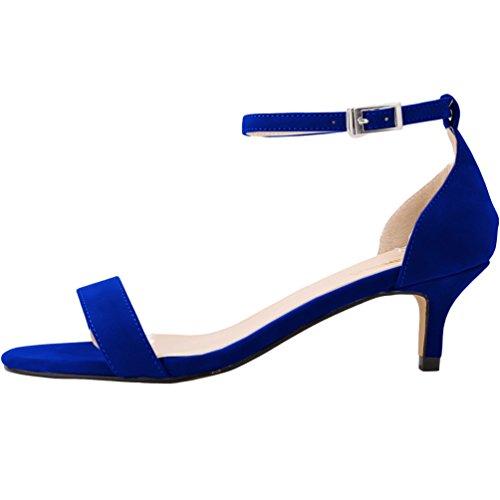 WanYang en Oficina Terciopelo para de Bajo de Hebillas Zapatos Parte Tacón Mujer Tiras la Azul Mujer y de qIaIwr