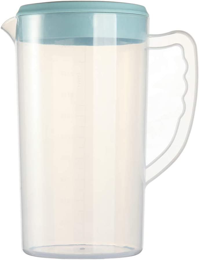 0.66 Gallon/2.5 Litre Plastic Water Pitcher with Lid/cover BPA-FREE Eco-Friendly Carafes Mix Drinks Water Jug for Hot/Cold Juice Beverage Ice Tea (84oz Blue)