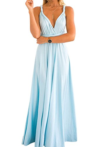 Clothink Women's Light Blue Multi-Way Convertible Wrap Party Maxi Dress -