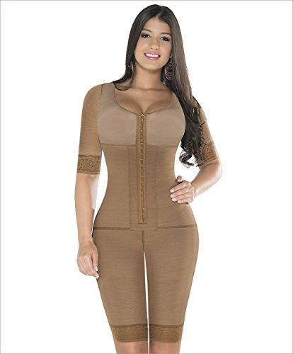 4a371fe2c7e21 Made In Colombia Equilibrium 2 Hooks Fajas Colombianas Post Surgery  Shapewear With Sleeves and Bra Bodysuit