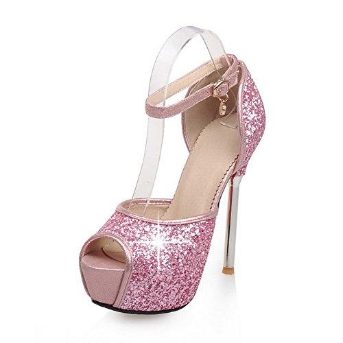 Balamasa Dames Bezaaid Strass Metaal Gespen Enkel Manchet Zacht Materiaal Pumps-schoenen Roze