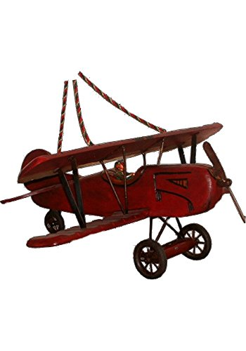Big Old Style Wood Hanging Airplane, Bi-winged Snoopy Red Baron Plane Rubber Wheels,