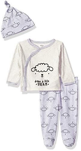 Gerber Baby 3-Piece Shirt, Footed Pant and Cap Set, Lamb, Newborn ()