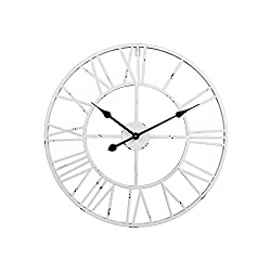 Utopia Alley Roman Round Clock, Distressed Finish, Metal, Antique White