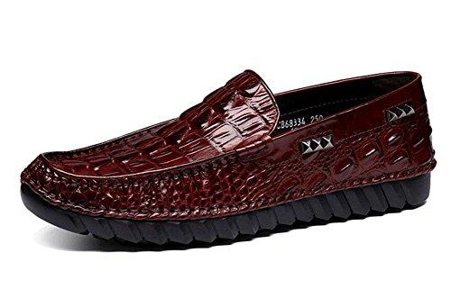 Männer Slip-On Oxford Neue High-End Erbsen Schuhe Crocodile Pattern High-Grade erste Schicht aus Leder Breathable Schuhe , red , 40