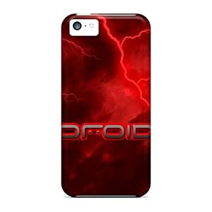 Hot QeMGzAC3707LTvom Case Cover Protector For Iphone 5c- Droid Lightening Red