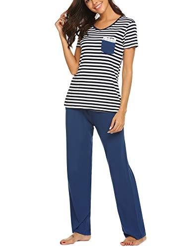Ekouaer Womens Pajama Set Printed/Henley Short Sleeve Top & Elastic Waist Pants Sleepwear Pjs Sets Navy Blue XL