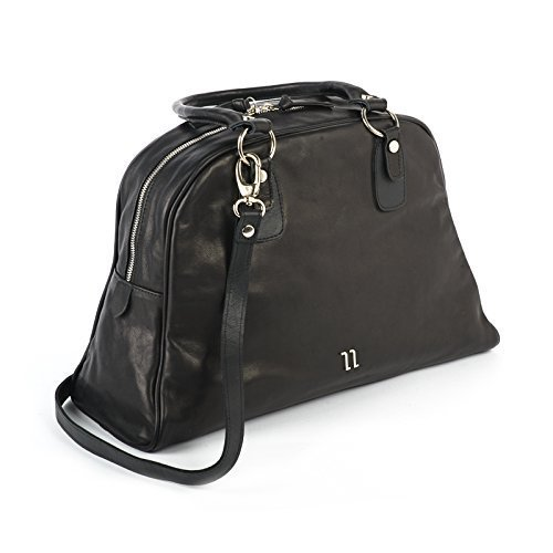 Black Italian Soft Leather Tote Bag with Spacy Interior, Four Inner Pockets, and a Cross Shoulder Adjustable Strap, Women's Designer Handmade Bags
