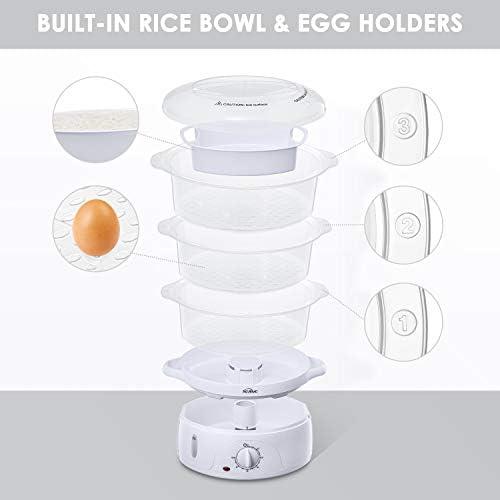 Cuiseur vapeur, Cuiseur vapeurs electrique sans BPA, Paniers empilables à 3 niveaux, Cuiseur legumes avec porte-œufs et bol à riz, minuterie, Puissance de 800W, 9L, de Kealive