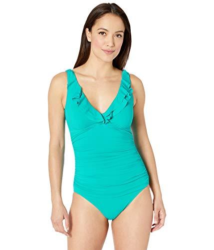 - Lauren Ralph Lauren Women's Beach Club Ruffle Mio One-Piece Jade 6