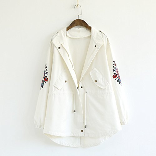 Lapel Zipper Solid Embroidery Hat Pocket DYF sleeve Flower White Color Coat Long TntwUx