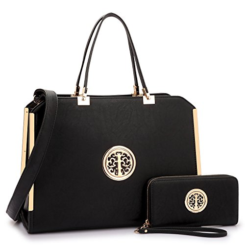 MMK collection Women Fashion Matching Satchel handbags with wallet~Designer Purse for Women ~Multi Pocket ~ Perfect Women Purse and wallet~ Beautiful Designer Handbag Set (black)