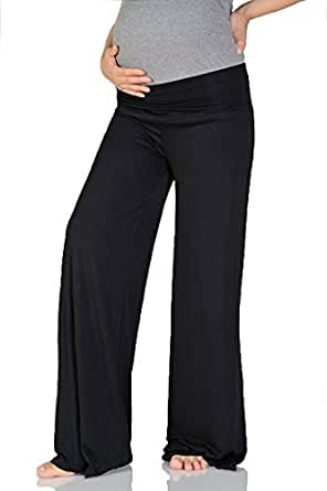 Beachcoco Women's Maternity Wide/Straight Comfortable Pants (S (Straight), Black)