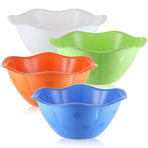 Pack of 4 - Large Plastic Party Serving Bowls - 192 Oz 6 Quart Unbreakable Bowls - BPA Free Comes in Beautiful Scalloped Design and 4 Fun Vibrant Colors - Great for Parties, Picnics and More -