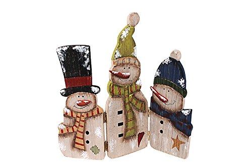 YK Decor 12.25'' Tall Wood Antique Snowmen Screen
