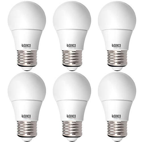 Sunco Lighting 6 Pack A15 LED Bulb, 8W=60W, 6000K Daylight Deluxe, Dimmable, 800 LM, E26 Base, Refrigerator & Fan Light - UL & Energy Star