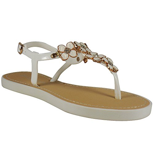 LoudLook New Womens Ladies Strap Buckle Slingback Toe-Post Flat Summer Shoes Sandals Size 3-8 UK White 0qUYYiGZSA