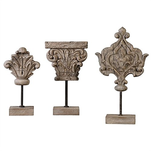 Uttermost 20054 Marta Wooden Sculptures, Set Three, Gray, Ivory