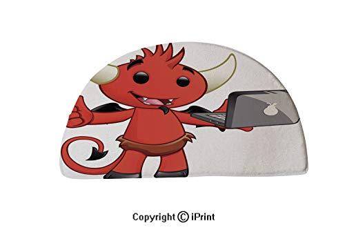 LEFEDZYLJHGO Indoor and Outdoor Door Mat,Semicircle Non-Slip Doormats,30x18 inch,Devil Character Laptop