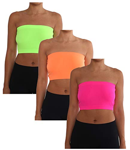 AEKO Women's 3-Pack One Size Strapless Base Bra Layer Bandeau Seamless Tube Top (Pack of 3) (Neon Green-Neon Orange-Neon Pink)