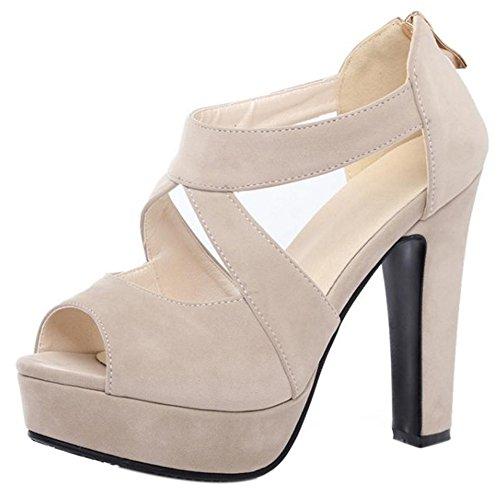 Sandalen White Blockabsatz Damen Mode COOLCEPT Beige q6tZvv