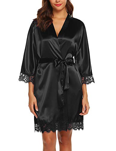 URRU Women's Satin Kimono Robe Solid Color Short