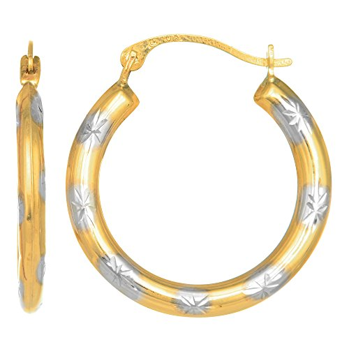 10k 2 Tone Yellow And White Gold Diamond Cut Round Hoop Earrings, Diameter 18mm ()