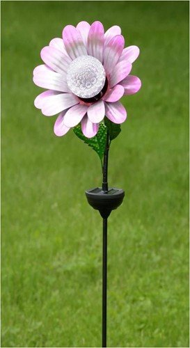 Zaer Ltd. Solar Flower Garden Stake with Rotating and Color Changing LED Light-Up Orb (Light Pink)