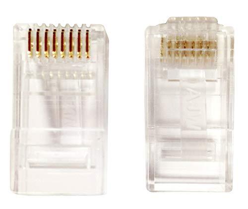 A.J.WORLD AJW RJ45 CAT6 8P8C Modular Plug UTP Gold 50um 100 Pieces Transparent