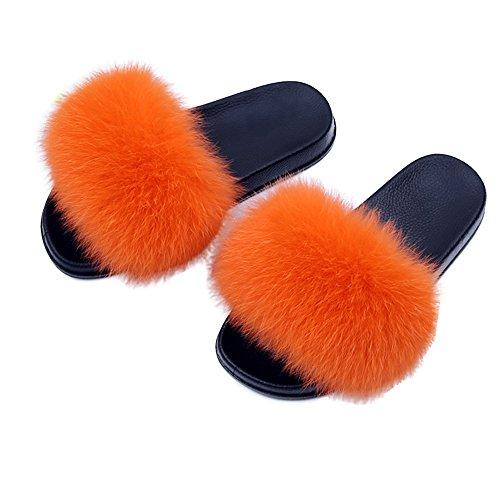 Yu He Women Real Fox Fur Feather Vegan Leather Open Toe Single Strap Slip On Sandals Orange 41
