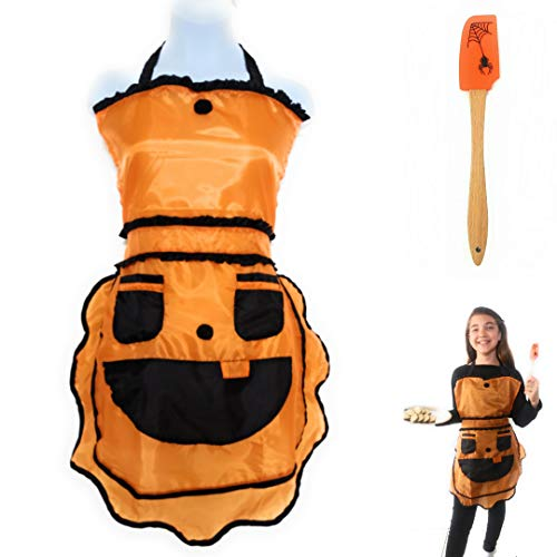 Girl's Halloween Apron and Silicone Spatula Set - Fun Pumpkin Matching a Friendly Spider Ideal to Cook, Bake, School Crafts, Harvest Fest or to Carve. Orange/Black Kids Size 8-14 yrs.