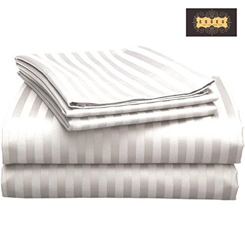 300tc Luxury Sheet Set (300 Thread Count 100% Cotton Sheet Set, Stripe (2 cms),Soft Sateen Weave, Deep Pockets,Home & Hotel Collection,Luxury Bedding-Bestseller- Super Sale 100% Cotton, by ESSEU (Queen, Light Grey))