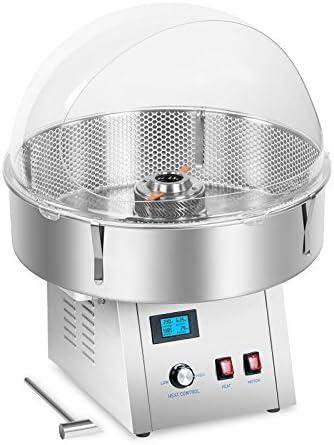 Royal Catering RCZK-SET4 Máquina de Algodón de Azúcar Algodonera Industrial con Malla y Cobertura (1.500 W, Ø 62 cm, 4 kg/h, Cobertura Antisalpicaduras de Vidrio Acrílico) Acero Inox: Amazon.es: Hogar