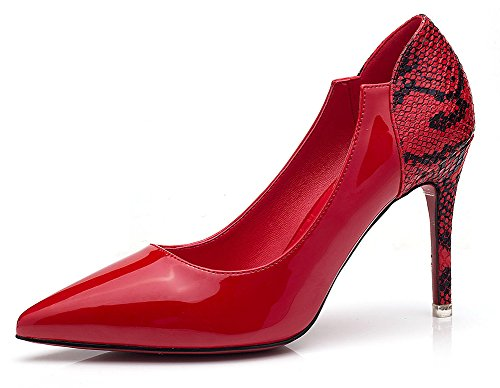 Easemax Womens Fashion Pointy Toe High Stiletto Heel Dress Pump Red aexc3Ns
