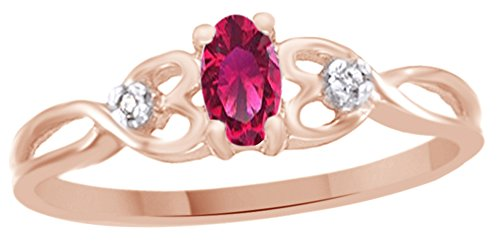 Jewel Zone US Simulated Ruby & White Natural Diamond Accent Engagement & Wedding Ring in 10k Solid Gold (0.37 Cttw) (2 Carrot Diamond Engagement Ring)