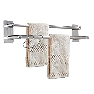 BSTSEY 40cm 3M Self Adhesive Stainless Steel Hand Towel Holder with 2 Bars, Towel Hanger Rail Organizer Rack Bar…