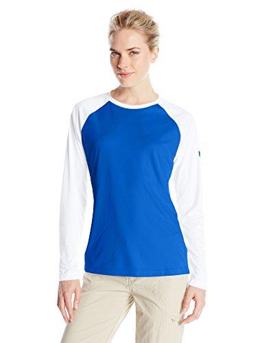 Columbia Women's Tidal Tee II Long Sleeve Shirt, Vivid Blue/White, Medium - Columbia Upf Long Sleeve Tee