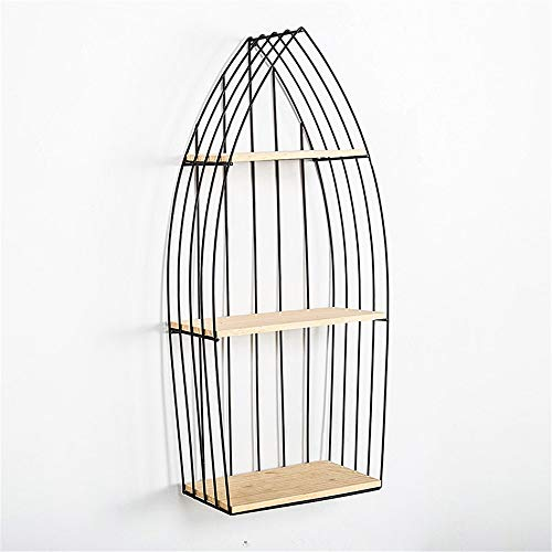 Mailbox Retro Mediterranean Wrought Iron Wood Boat Shape Wall partition Rack Cabinet Living Room Decoration Cafe Wall hangings Outdoor Mailboxes Home Decoration (Color : Small, Size : One Size)