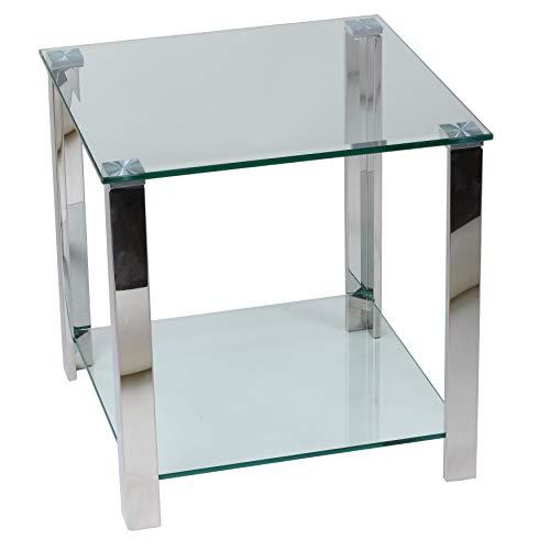 Cortesi Home Melissa Double Shelf Glass End Table, 20