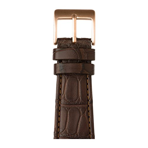 Roobaya | Premium Alligator Leather Apple Watch Band in Dark Brown | Includes Adapters matching the Color of the Apple Watch, Case Color:Rose Gold Aluminum, Size:42 mm by Roobaya