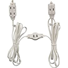 """GE """"Twin"""" Extension Cord - 12 ft cord - 6 feet on each side - Flat Head (Wall Hugger) plug - 6 Polarized Outlets with safety cover"""