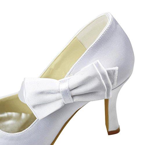 Kevin Fashion Mz1211 Vrouwen Hoge Hak Satijnen Bruids Formele Avondfeest Prom Pumps Schoenen Wit