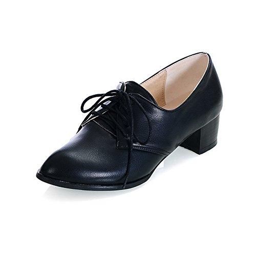 Allhqfashion Womens Spitse Gesloten Teen Lage Hakken Zacht Materiaal Stevige Vet-up Pumps-schoenen Zwart