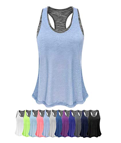 Women Tank Top with Built in Bra, Lightweight Yoga Camisole for Workout Gym Fitness(Light Blue&Gray Bra, M)