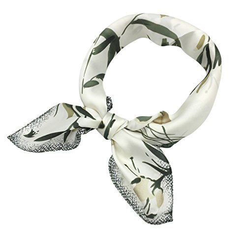 (YOUR SMILE Silk like Scarf Women's Fashion Pattern Large Square Satin Bandanas Headscarf Headdress 24''x24'' (White Flower) )
