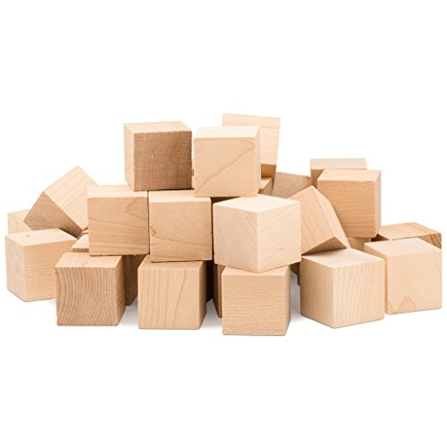 1Inch Wooden Cubes | Bulk Box of 100 Unfinished Square Cubes | Blank Baby Shower Decorating Blocks | For Puzzle Making, Crafts and DIY Projects | By Woodpeckers
